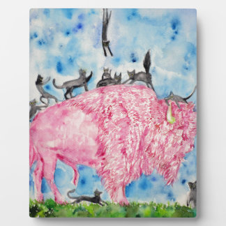 pink bison and black cats plaque