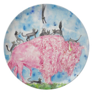 pink bison and black cats plate