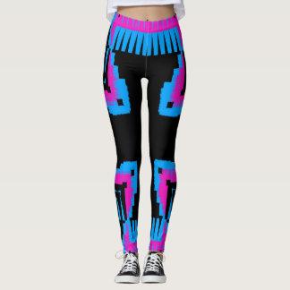pink black and blue cross pattern leggings