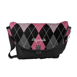 Pink, Black and Charcoal Argyle Custom Name Tote Messenger Bag