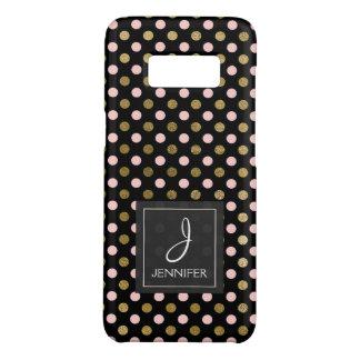 Pink, Black and Gold Foil Polka Dot Monogram Case-Mate Samsung Galaxy S8 Case