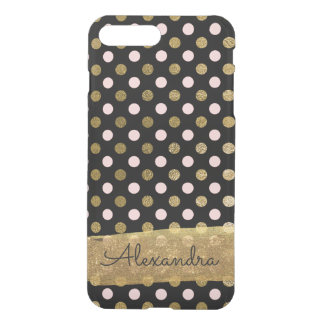 Pink, Black and Gold Foil Polka Dot Monogram iPhone 8 Plus/7 Plus Case