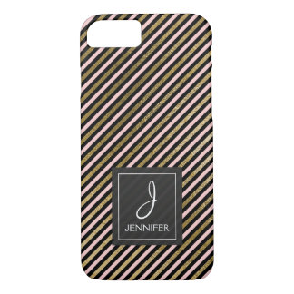Pink, Black and Gold Foil Striped Monogram iPhone 8/7 Case