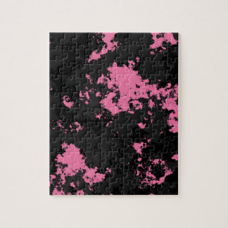 Pink black and gray SPlatter Jigsaw Puzzle