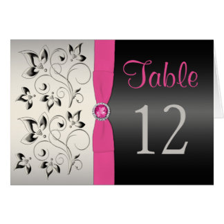 Pink, Black and Silver Floral Table Number Card