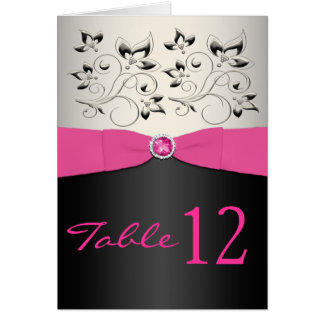 Pink, Black, and Silver Table Number Card