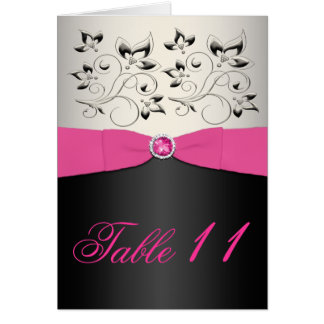 Pink, Black, and Silver Table Number Card (Script)