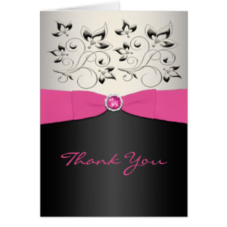 Pink, Black, and Silver Thank You Card