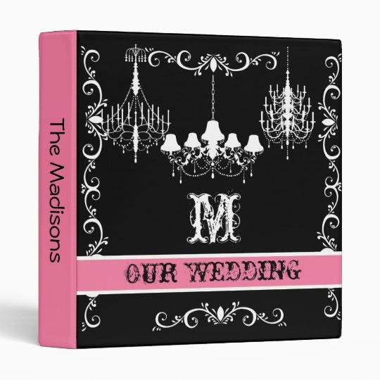 Pink, Black and White Chandelier Wedding Binder
