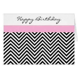 Pink, Black, and White Chevron Birthday Card