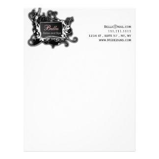 pink, black and white Chic Business letterheads Custom Letterhead