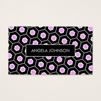 Pink black and white honeycomb business card