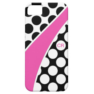 Pink Black and White Polka Dot Wave Monogram iPhone 5 Cover