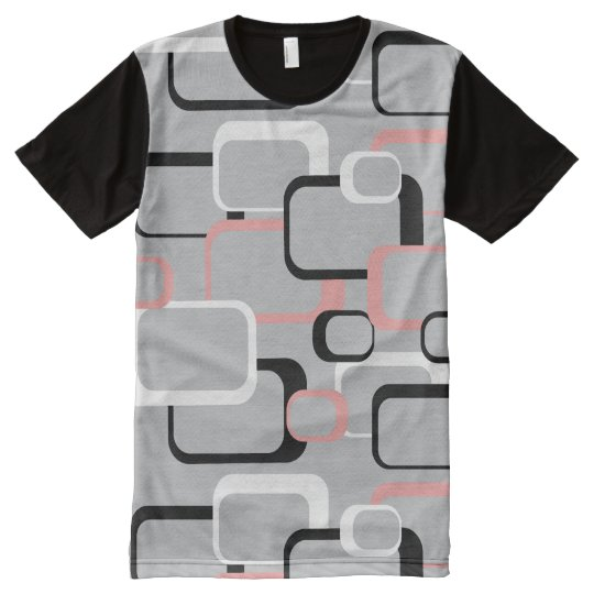 Pink Black and White Retro Squares Grey All-Over-Print T-Shirt