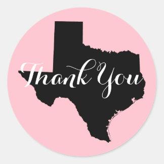 Pink Black and White Texas Wedding Thank You Round Sticker
