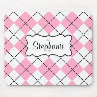 Pink Black Argyle Customizable Monogram Mouse Pad