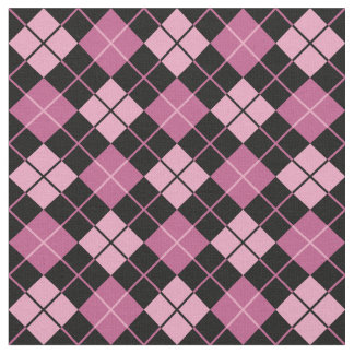 Pink-Black Argyle Fabric