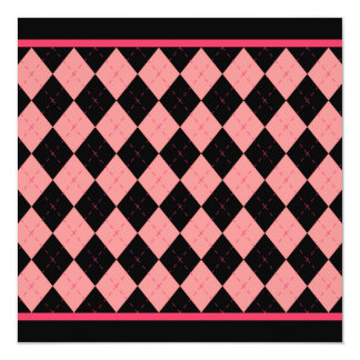 Pink Black Argyle Invitation