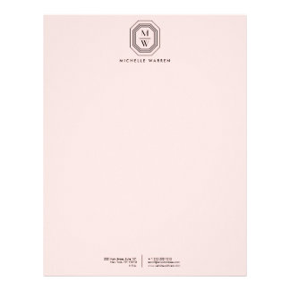 Pink/Black Art Deco Monogram Letterhead