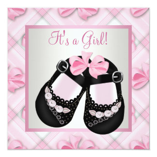 "Pink Black Baby Shoes Pink Black Baby Girl Shower 5.25"" Square Invitation Card"