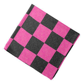 Pink Black Checkerboard Bandana
