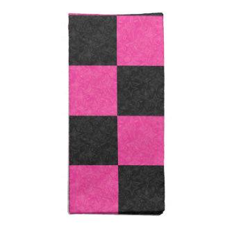 Pink Black Checkerboard Printed Napkin