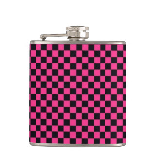 Pink & Black Checkerboard Vinyl Wrapped Flask
