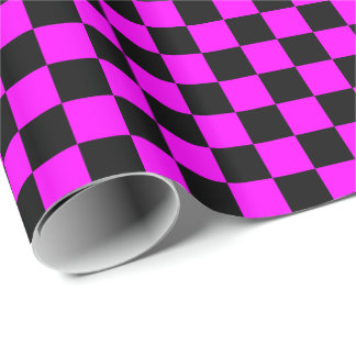 Pink/Black Checkered Wrapping Paper