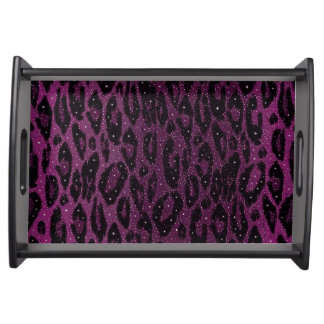 Pink Black Cheetah Stars Service Tray