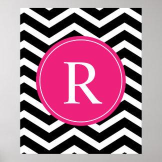 Pink Black Chevron Monogram Poster