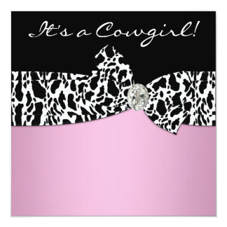 Pink Black Cow Print Cowgirl Baby Shower Card