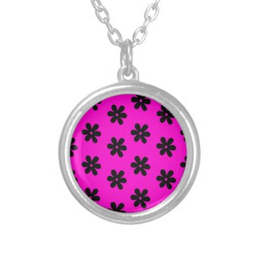 Pink black daisy flower pattern jewelry