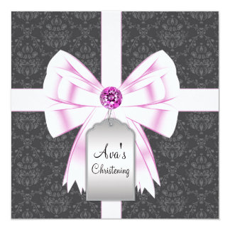 Pink Black Damask Baby Christening Invitations