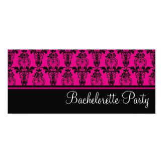 Pink Black Damask Bachelorette Party Invitation
