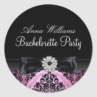 Pink & Black Damask Bachelorette Party Sticker
