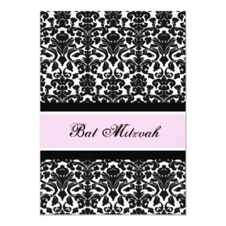 Pink Black Damask Bat Mitzvah Invitations