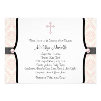 "Pink Black Damask Christening 5"" X 7"" Invitation Card"