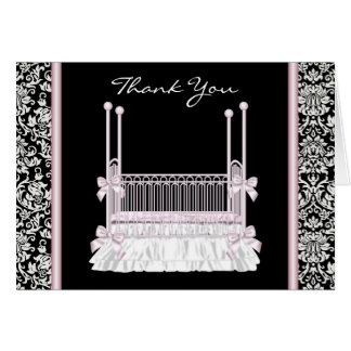 Pink Black Damask Crib Baby Shower Thank You Cards