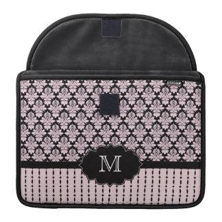 Pink black damask monogram macbook pro sleeve