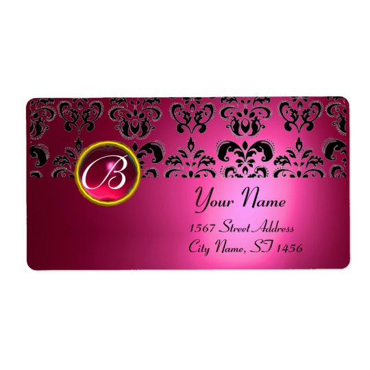 PINK BLACK DAMASK MONOGRAM, RED RUBY