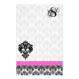 Pink & Black Damask Monogram Stationery