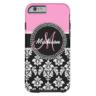 Pink Black Damask Pattern Monogram Tough iPhone 6 Case