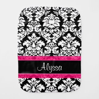 Pink Black Damask Personalized Burp Cloth