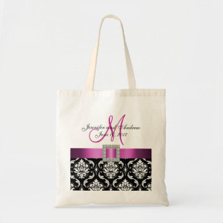 Pink, Black Damask Personalized Wedding Tote Bag