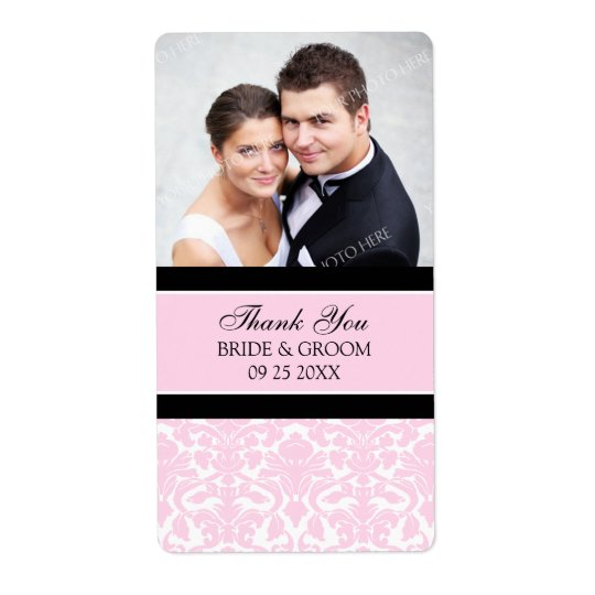 Pink Black Damask Photo Wedding Labels