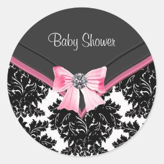 Pink Black Damask Pink Black Baby Shower Sticker