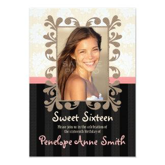 Pink Black Damask Sweet Sixteen Photo Invitations