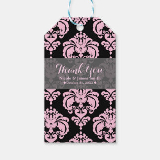 Pink & Black Damask Vintage Wedding Event Favor Gift Tags
