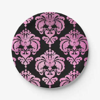 Pink & Black Damask Vintage Wedding Event Party Paper Plate
