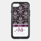 Pink Black Damask Violet Monogram OtterBox Commuter iPhone 8/7 Case